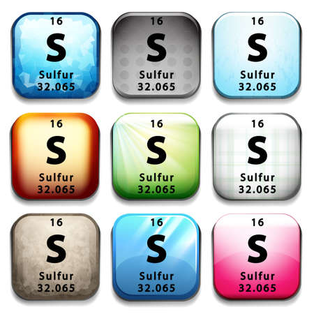 An icon showing the element Sulfur on a white background Vector