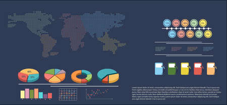 concise: An infographics showing a map on a gray background Illustration