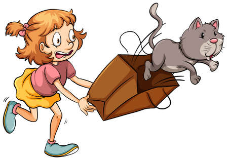 mewing: A young girl chasing the cat on a white background