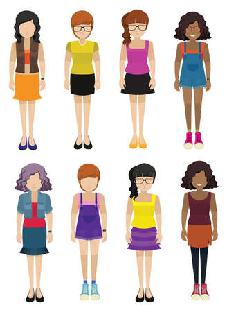 faceless: Faceless ladies wearing fashionable dresses on a white background Illustration