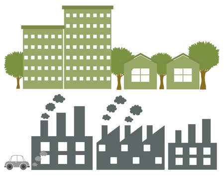 establishments: Factories in gray and green colours on a white background Illustration