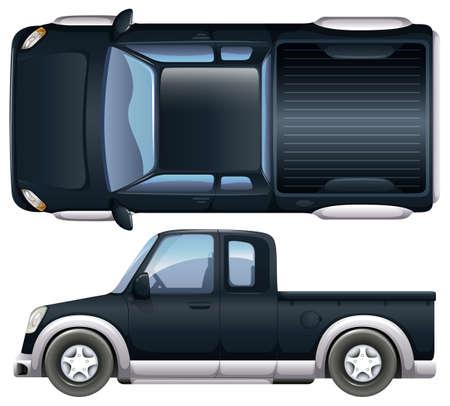 pickup: A black pickup on a white background Illustration