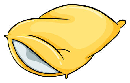 sleeping bag: A yellow pillow on a white background Illustration