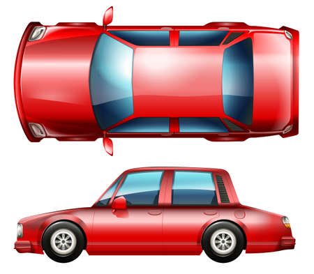 car glass: A red sedan vehicle on a white background