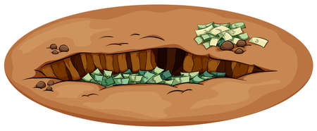 idiom: An English idiom showing the money in the pit on a white background