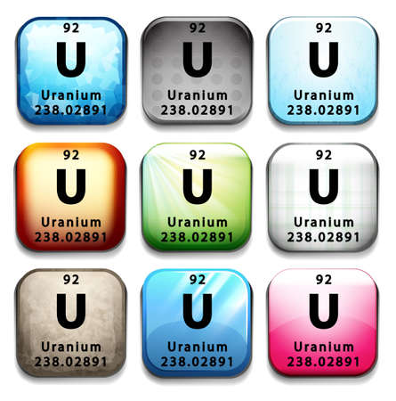 An icon showing the element Uranium on a white background Vector