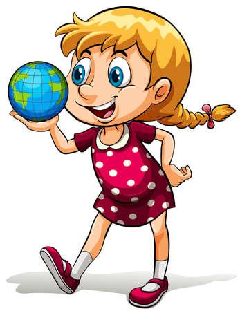globe terrestre dessin: Une jeune fille tenant un globe sur un fond blanc