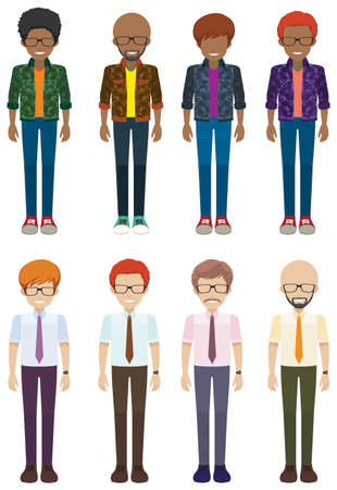 bachelor's: Eight faceless bachelors on a white background Illustration