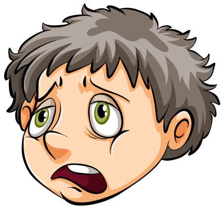 Een gezicht van een droevige jongen op een witte achtergrond