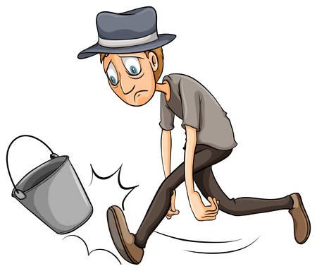 A boy kicking the pail on a white background