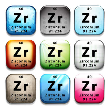 zirconium: A button showing the chemical element Zirconium on a white background