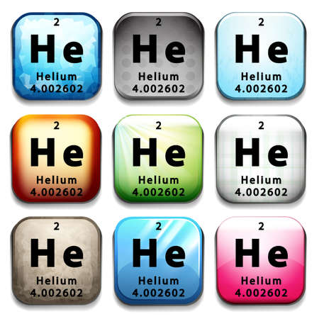 A button showing the chemical element Helium on a white background Vector