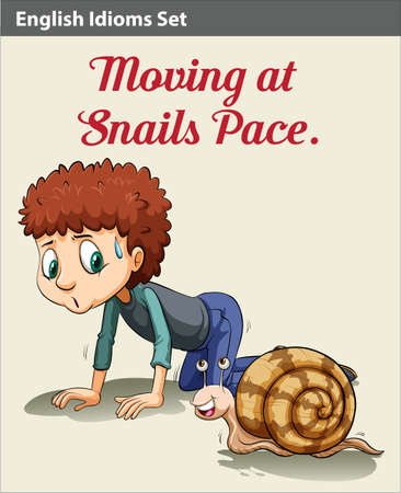 literal: A boy moving like a snail