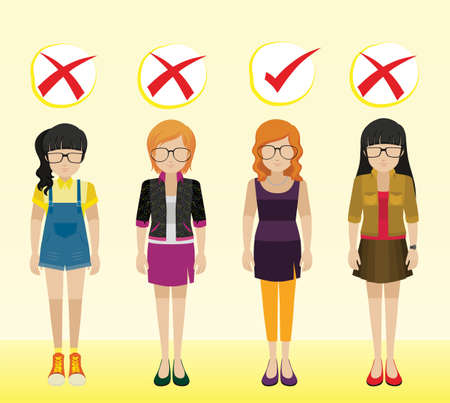 inappropriate: Girls with different appropriate and inappropriate attires Illustration