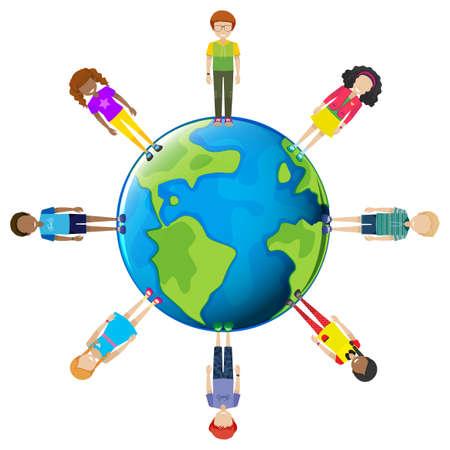 globus: Youths around the globe on a white background