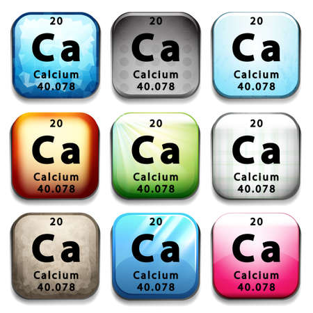 subatomic: A button showing the chemical element Calcium on a white background Illustration