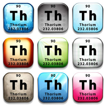 A button showing the chemical element Thorium on a white background Vector