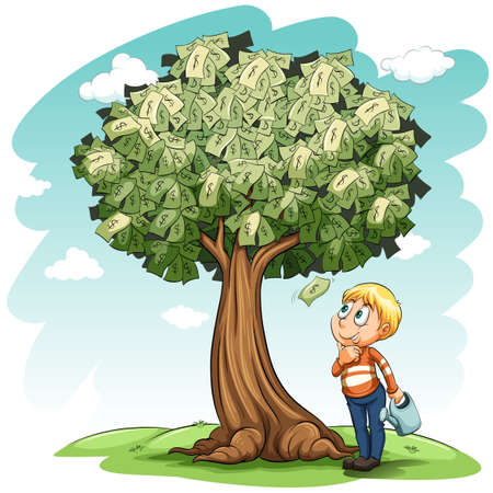 beside: A money tree and a young boy on a white background