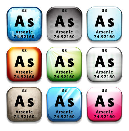 arsenic: A button showing the chemical element Arsenic on a white background
