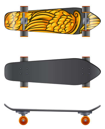 rollerskate: A skateboard in different angles on a white background