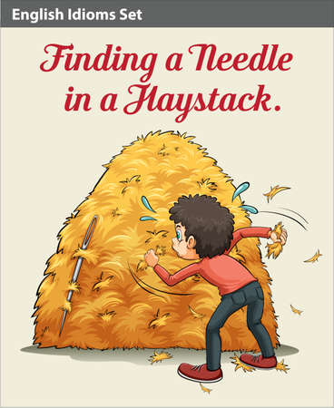 figurative: A boy finding a needle in the haystack Illustration