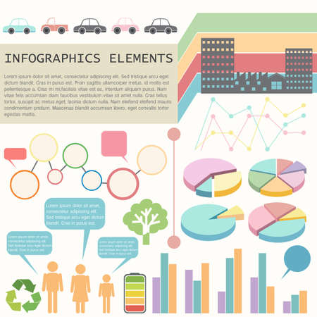 infochart: An infochart showing the vehicles and humans on a white background Illustration