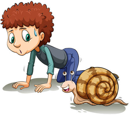 slow motion: A boy following the snail on a white background Illustration