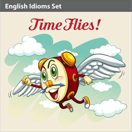 figurative: An English Idiom showing a clock flying