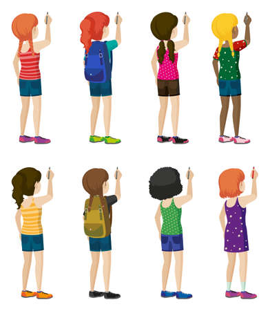 fashionable: Faceless kids with fashionable attires on a white background