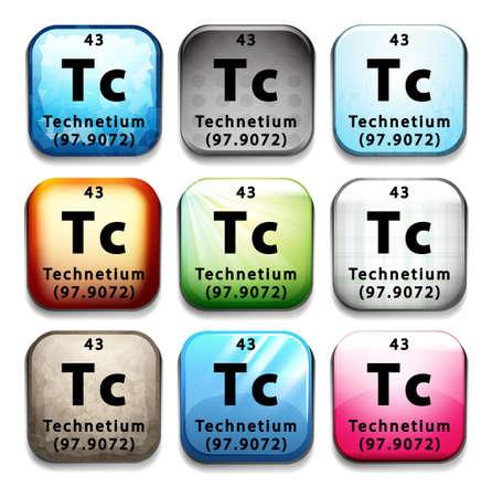 tabular: A Technetium element on a white background