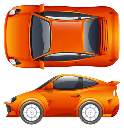 car tire: An orange vehicle on a white background