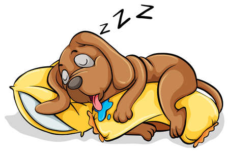 people sleeping: A dog sleeping with a pillow on a white background Illustration