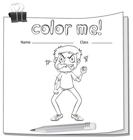 workbook: A workbook with an angry man on a white background Illustration
