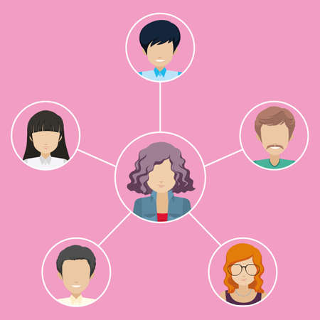 individuals: A network of different individuals on a pink background