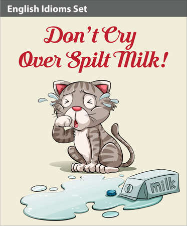 meaning: Dont cry over spilt milk idiom showing a crying cat Illustration