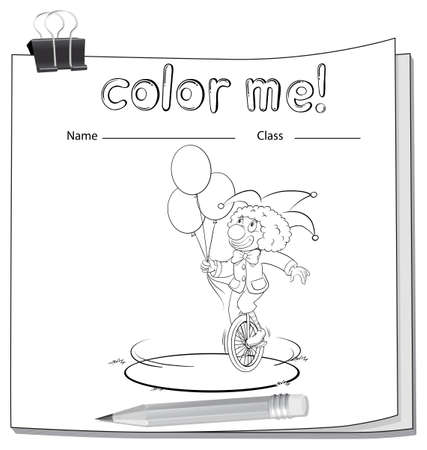 workbook: A workbook with a clown on a white background