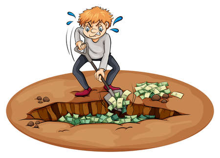 A man digging the money in the pit on a white background