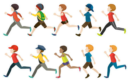 lineup: A group of kids running on a white background Illustration
