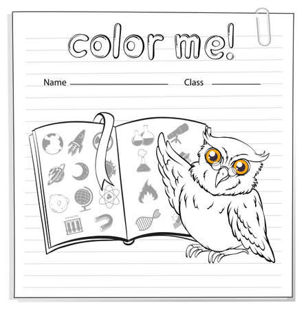 coloring sheets: A worksheet showing an owl and a book on a white background