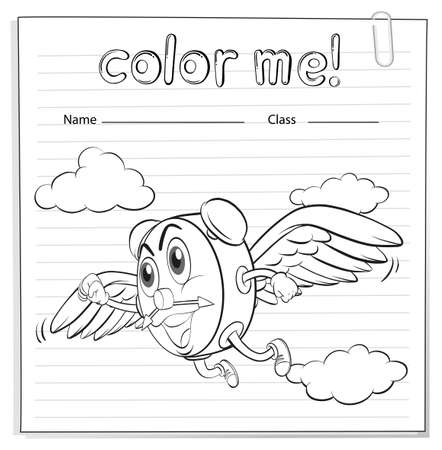 coloring sheets: A worksheet showing a flying clock on a white background Illustration