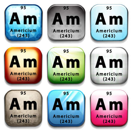 An icon showing the chemical Americium on a white background Ilustrace