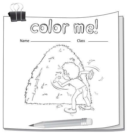 haystack: A worksheet showing a boy and a haystack on a white background Illustration