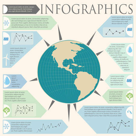 concise: An infochart with a globe on a white background