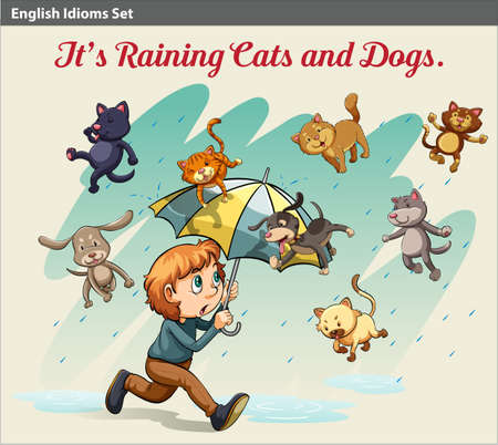 idiom: An idiom showing a rain with cats and dogs