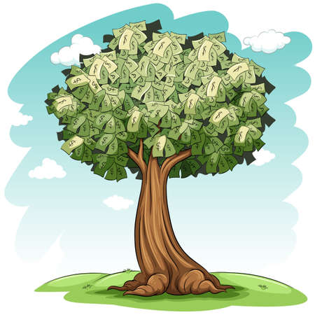 A money tree on a white background Vector