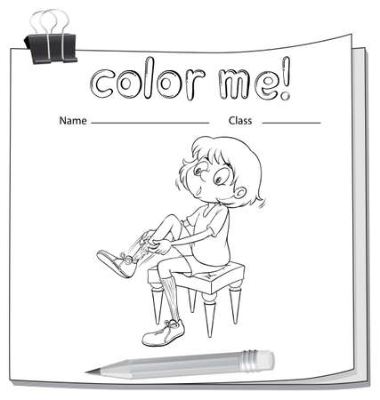 coloring sheets: A worksheet showing a girl fixing her shoes on a white background Illustration