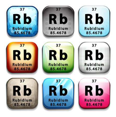 An icon showing the chemical Rubidium on a white background Ilustrace