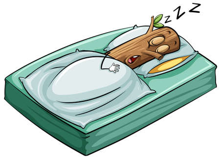 An idiom about a sleeping log on a white background Illustration