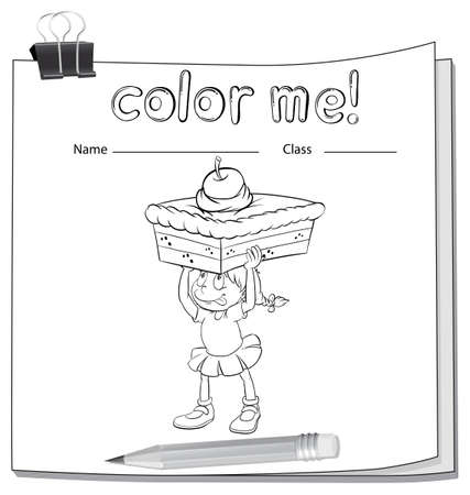 worksheet: A worksheet showing a girl carrying a cake on a white background