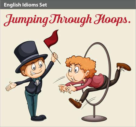 idiom: An English idiom about a man jumping through the hoops
